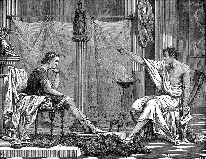 رسم من القرن التاسع عشر يصور الفيلسوف أرسطو مع تلميذه الإسكندر الأكبر